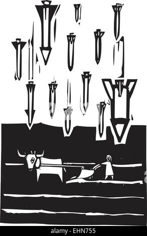 Woodcut style image of missiles falling on a farm - Stock Photo