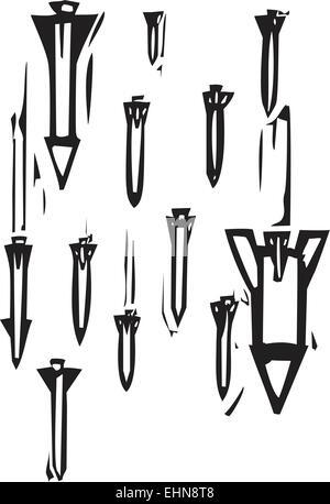 Woodcut style image of missiles falling - Stock Photo