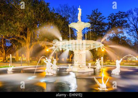 Savannah, Georgia, USA at Forsyth Park fountain. - Stock Photo