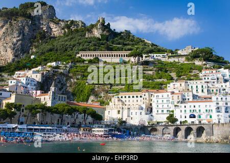 Amalfi and Atrani seen by boat, Campania, Italy - Stock Photo