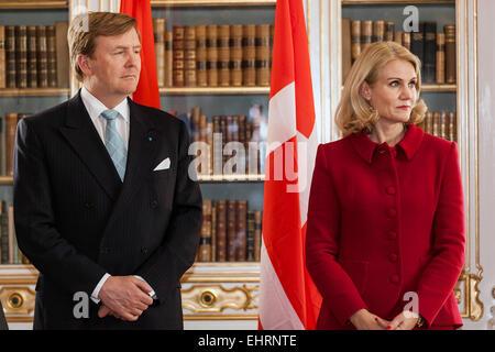 Copenhagen, Denmark. 17th March, 2015. Dutch King Willem-Alexander and Danish PM, Helle Thorning-Schmidt, pictured - Stock Photo