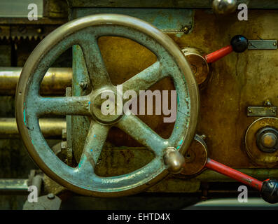 Detail Of A Vintage Industrial Metal Working Lathe - Stock Photo