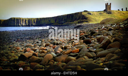 Dunstanburgh Castle from Embleton Bay, Northumberland - Stock Photo