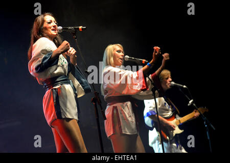 BARCELONA - JUL 24: Bjorn Again (band tribute to ABBA) performs at Golden Revival Festival on July 24, 2014 in Barcelona, - Stock Photo