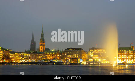 Downtown panorama of Hamburg - Stock Photo