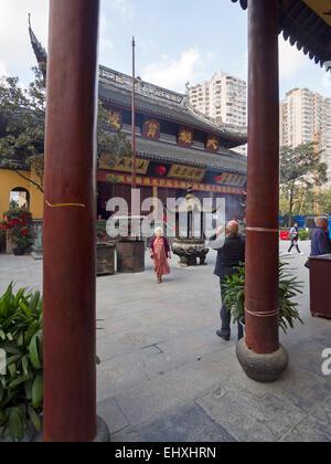 Courtyard of the Jade Buddha temple in Shanghai, China - Stock Photo