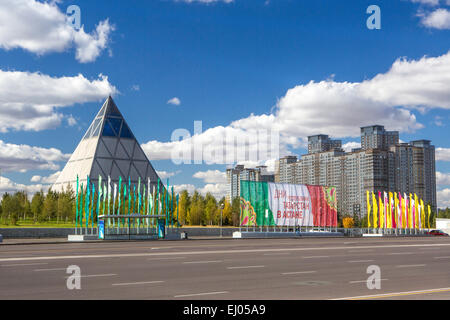 Administrative, Astana, City, Kazakhstan, Central Asia, New, Palace, Summer, Peace and Accord, architecture, colourful, - Stock Photo