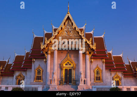 Thailand, Bangkok, Wat Benchamabophit aka The Marble Temple - Stock Photo