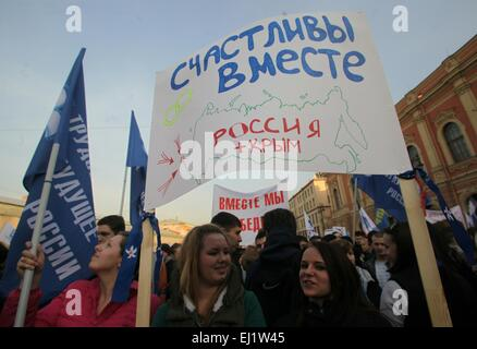 March 18, 2015. - Russia, Saint Petersburg. - Rally to mark anniversary of Crimea's reunification with Russia. - Stock Photo