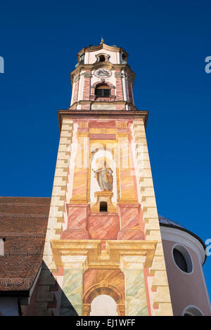St. Peter and St. Paul's parish church painted with Lüftlmalerei, Mittenwald, Werdenfelser Land, Upper Bavaria, - Stock Photo