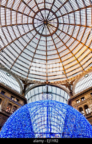 Naples, Italy - January 1, 2014: detail of public shopping gallery Galleria Umberto I in Naples, Italy. - Stock Photo