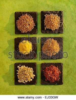Edible whole grains.  Buckwheat, barley, quinoa, brown rice, oats, cornmeal - Stock Photo