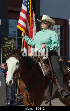 Cowboys and girls, 115th Golden Dragon Parade, Chinese New Year, 2014, Year of the Horse, Los Angeles, California, - Stock Photo
