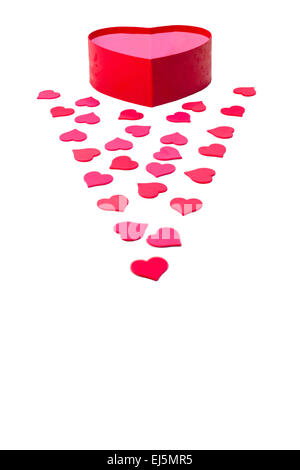 Open gift box with heart-shaped and scattered hearts isolated on white background - Stock Photo