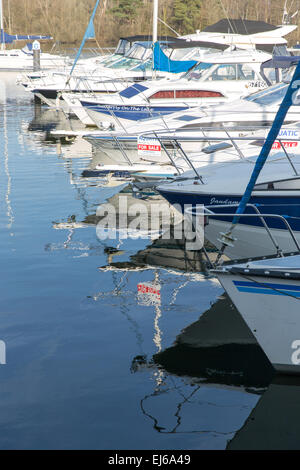 A Marina at Bowness on Windermere in the Lake District National Park - Stock Photo