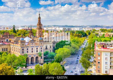 Seville, Spain cityscape towards Plaza de Espana. - Stock Photo