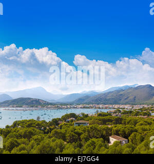 Majorca Port of Pollenca Pollensa aerial from Formentor in Mallorca Balearic islands - Stock Photo