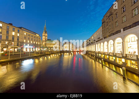 Townhall and Alsterfleet at night - Stock Photo