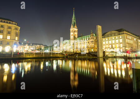 The center of Hamburg at night - Stock Photo