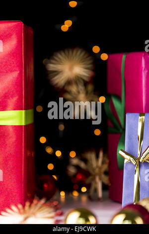 Gifts, glitters, spheres and stars - Stock Photo
