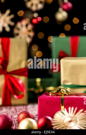 Christmas Gifts, Glitters, Baubles and Stars - Stock Photo