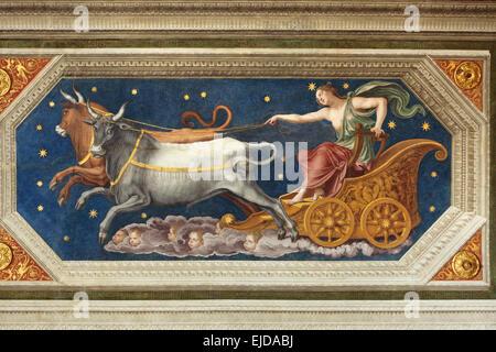 Nymph Callisto on the Chariot. Fresco by Baldassarre Peruzzi at the Loggia of Galatea in the Villa Farnesina in - Stock Photo
