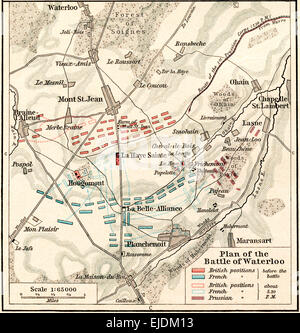 Plan of the Battle of Waterloo, June 16-18, 1815.  From Historical Atlas, published 1923. - Stock Photo