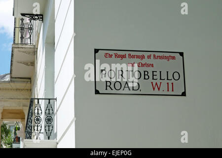 Street sign for Portobello Road in the Notting Hill district of the Royal Borough of Kensington and Chelsea - Stock Photo