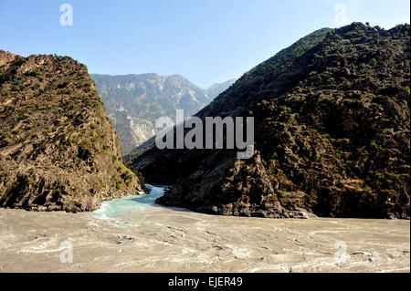 Hunza river, Karakoram Highway ,Pakistan, Gilgit, Baltistan,Gilgit-Baltistan, Hunza River, Pakistan, 2010. - Stock Photo