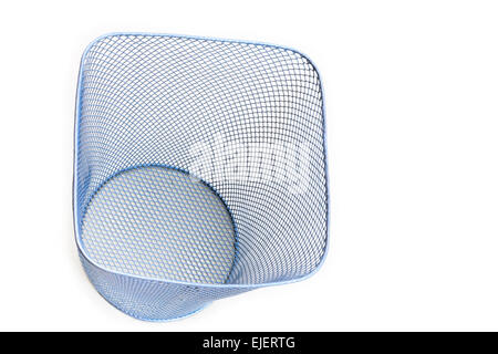 Empty metal mesh wastepaper basket cut-out and isolated on a white from above - Stock Photo