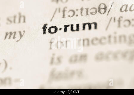 Definition of word  forum in dictionary - Stock Photo