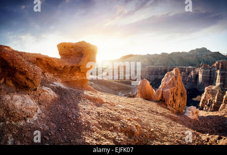 Charyn grand canyon at surise in Kazakhstan - Stock Photo