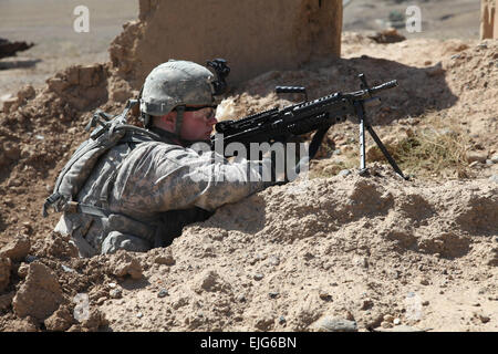 U.S. Army Pfc. Justin Pierce  a Cavalry scout with 1st platoon Bravo Troop, 1st Squadron of the 172nd Cavalry Regiment - Stock Photo