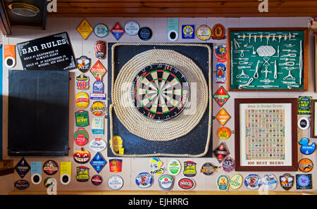 Dartbord in the Hope and Anchor pub, Tenby, Tenby, Pembrokeshire, Wales UK - Stock Photo