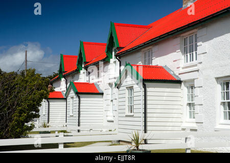 Falklands, Port Stanley, Victory Green, Marmont Row, whitewashed seafront houses with red roofs - Stock Photo