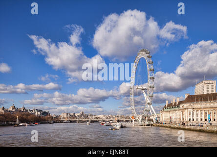 View of the River Thames downstream from Westminster Bridge to the Millenium Bridge, London Eye and County Hall. - Stock Photo