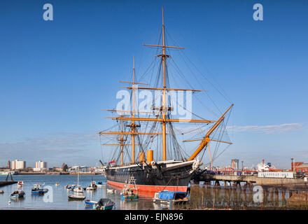 HMS Warrior, Portsmouth, Hampshire,England, UK, was the first armour-plated, iron hulled warship. She is part of - Stock Photo