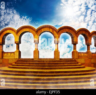 Stairway to heaven in bright sky. - Stock Photo