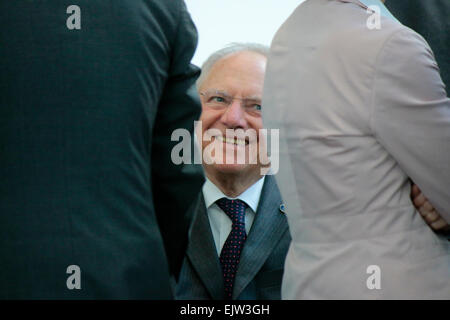 MARCH 31, 2015 - BERLIN: German finance minister Wolfgang Schaeuble at a photo opp before a meeting of the German - Stock Photo