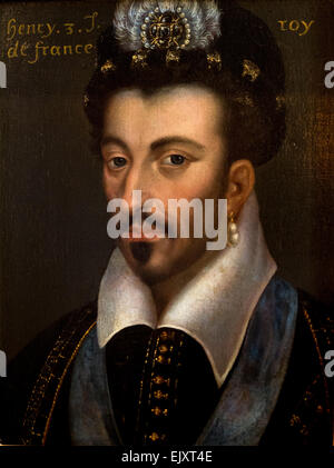 ActiveMuseum_0005759.jpg / Henri III King of France, french scholl of XVIIth century, royal Portraits from the gallery - Stock Photo