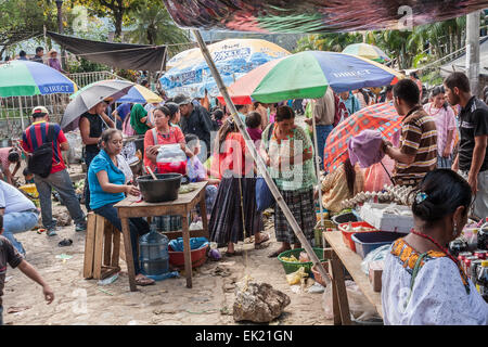 Market day on Lanquin town in Guatemala - Stock Photo