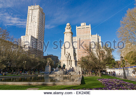 View of Plaza de Espana in the city of Madrid. Plaza de España is one of the most knowns places in Madrid - Stock Photo