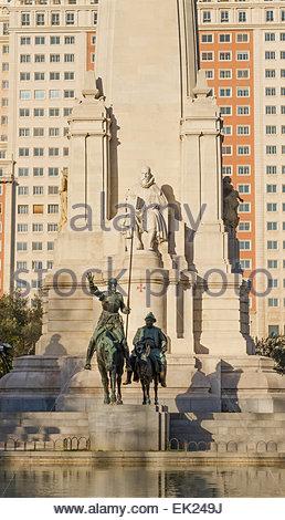 Sculpture of Don Quijote and Sancho Panza in Plaza de España, Madrid - Stock Photo
