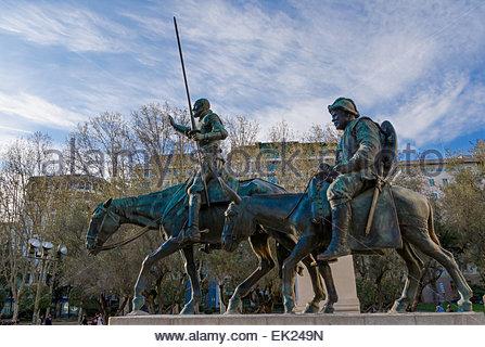 Don Quijote de la Mancha and Sancho Panza. Statue in Spain Square, Madrid - Stock Photo