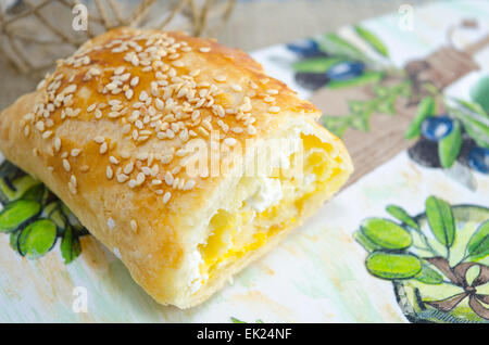 Homemade pie on a decorated tray - Stock Photo
