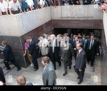 Russian President Boris Yeltsin pictured visiting the 'Ploshchad Lenina' /Lenin Square/ metro station of Novosibirsk - Stock Photo