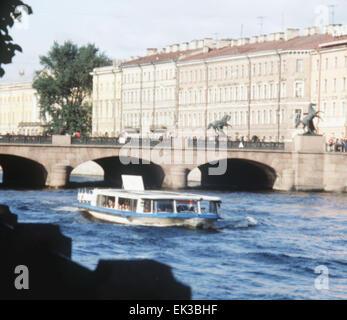 Leningrad, USSR. A view of the Anichkov Bridge across the Fontanka River. - Stock Photo
