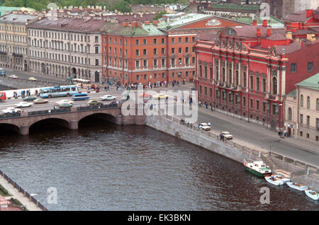 Leningrad, USSR. An aerial view of the Anichkov Bridge across the Fontanka River, with bronze sculptures The Horse - Stock Photo
