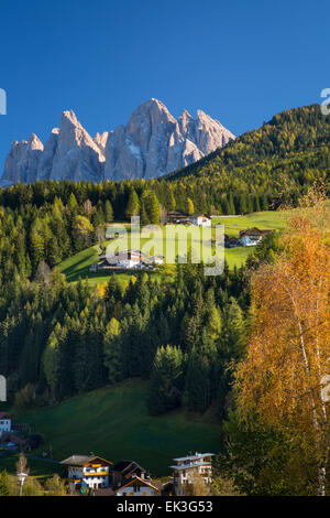 View of the Geisler Spitzen and Dolomite Mountains from San Pietro, Val di Funes, Trentino-Alto-Adige, Italy - Stock Photo