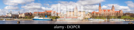 Panoramic view of Szczecin waterfront, Poland. - Stock Photo